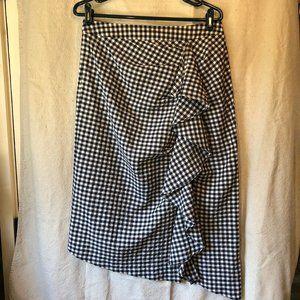 TopShop B/W Gingham asymmetric hem pencil skirt -8